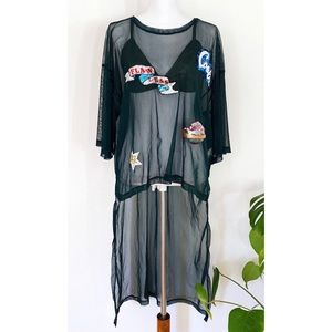 Zara Beaded Flawless Spaceship Tunic Sheer Dress